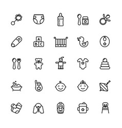 baby care thin line icon set outline stroke vector image