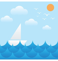 boat at sea wavessunsky and cloud vector image vector image