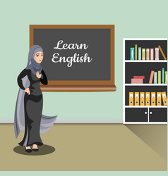 muslim teacher in classroom vector image vector image