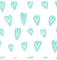 Seamless pattern - hand drawn azure hearts vector image vector image