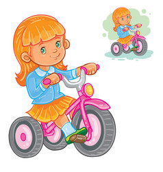 Small girl ride tricycle vector