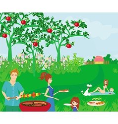 A of a family having a picnic vector image vector image