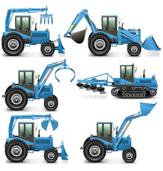 Agricultural tractor set 3 vector