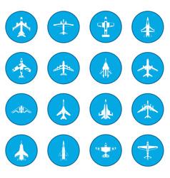 aviation set icon blue vector image