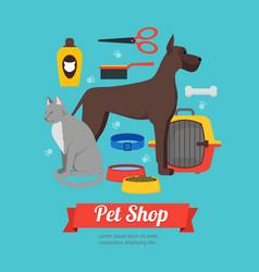 cartoon domestic pet shop banner vector image vector image