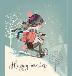 cute girl on sleigh vector image