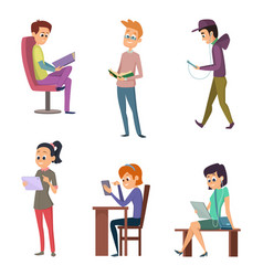 different people male and female reading books vector image vector image