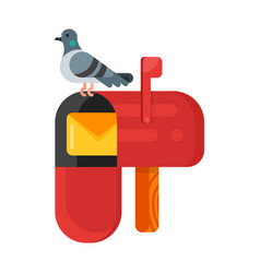 flat style of post pigeon vector image
