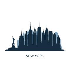 new york skyline monochrome silhouette vector image