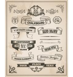 Vintage hand drawn design elements - banner set vector image vector image