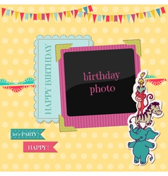 Birthday Card with Photo Frame vector image vector image
