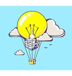 flying yellow lightbulb balloon on blue b vector image vector image