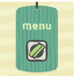 outline sushi rice roll with green grass japan vector image