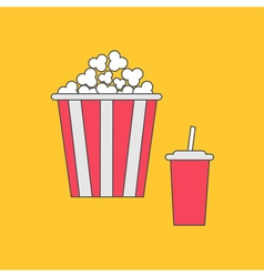 Popcorn and soda with straw Cinema thin line icon vector image