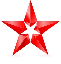 Shiny RED star 02 vector image vector image