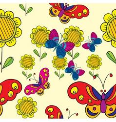 sunflower butterflies vector image vector image