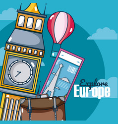 Travel and discover europe card over sky vector