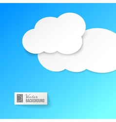 White paper clouds over blue vector image vector image