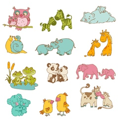 Baby and Mommy Animals vector image vector image