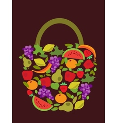 bag with fruits and vegetables pattern vector image
