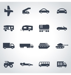 black vehicles icon set vector image