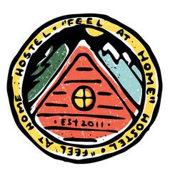 Emblem hostel service advertisment vector