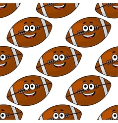 Seamless pattern of cartoon American footballs vector image vector image