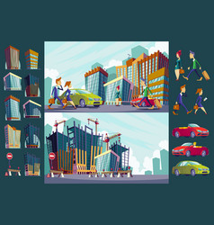 set cartoon of an urban large vector image