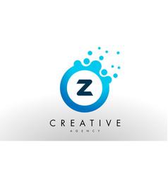 z letter logo blue dots bubble design vector image vector image