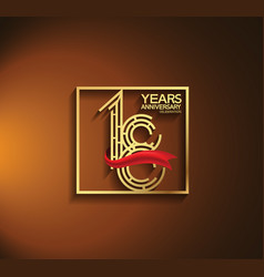 18 years anniversary logotype golden color vector