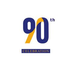 90 th anniversary celebration orange blue vector
