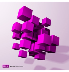Abstract composition of purple 3d cubes vector
