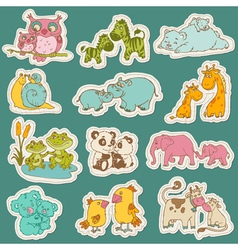 Baand mommy animal set on paper tags vector
