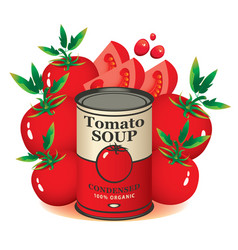 banner for tomato soup in a pile of tomatoes vector image