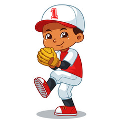 Baseball pitcher boy ready to throw vector