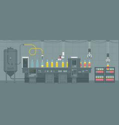 Beer on conveyor belt vector
