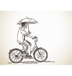 Bicyclist with umbrella vector