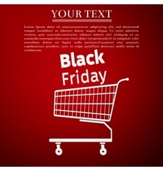 Black friday sale Shopping cart flat icon on red vector