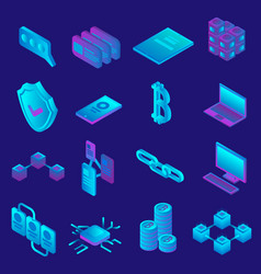 blockchain icon set isometric style vector image