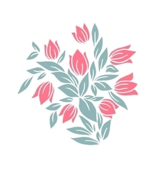 Bouquet of tulips Isolated on white vector