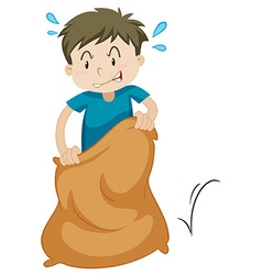 Boy playing race sack vector