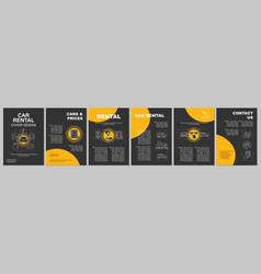car rental brochure template layout vector image