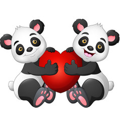 cartoon couple panda with a red heart vector image