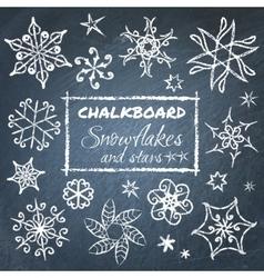 Chalkboard set snowflakes vector