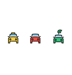 city cars icons set yellow taxi green eco red vector image