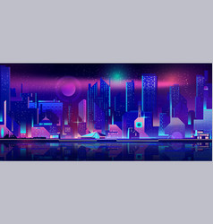 City nightlife cartoon urban background vector