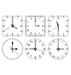 Clock face round and square set vector