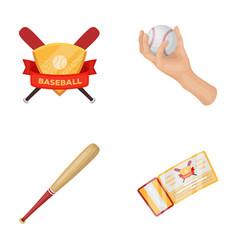 Club emblem bat ball in hand ticket to match vector