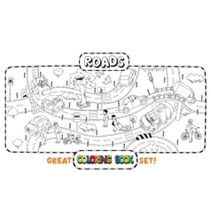 Coloring book of roads with cars vector