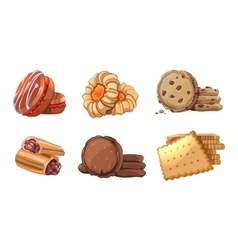 Cookies icons set in cartoon style vector